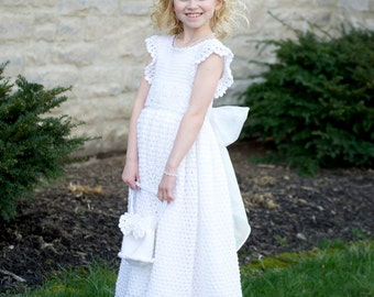 Devin's White Diamond Children Crochet Dress Ensemble Digital e Pattern  (girl size 1, 2, 4, 6) 011P-SM