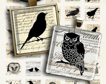 Printable images LITTLE EPHEMERA BIRDS 1x1 inch size Digital Collage Sheet for pendants, jewelry, magnets, vintage scrapbook paper ArtCult