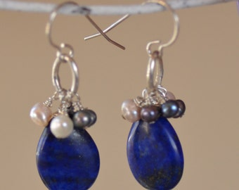Lapis Lazuli Sterling Silver Earrings.  Blue Lapis and Fresh Water Pearls Teardrops. Kissed by The Sea.