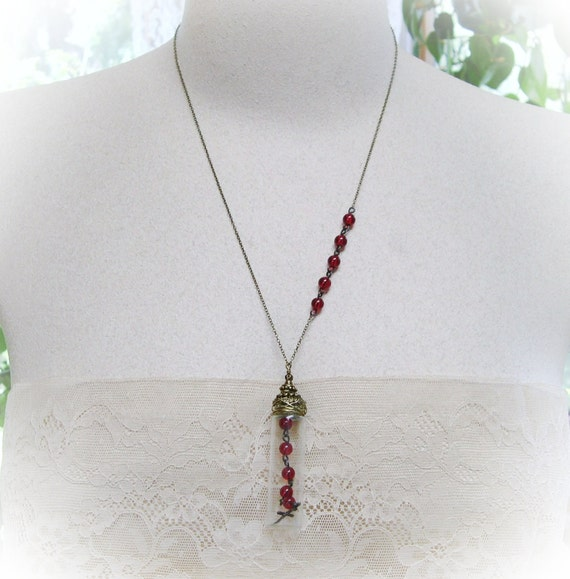 Glass Vial Necklace Red Beads and Cross