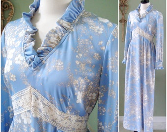 Vintage Floral Maxi Dress, Light Blue 1970's Peasant Dress, Periwinkle Blue Full Length Dress, Spring Dress Size M/L