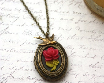 A Tiny Dark Pink Rose Flower, Flying Bird Swallow, Oval Locket Necklace. Daughter & Mom. Vintage Style. Nature Inspired. For Wife. New Baby