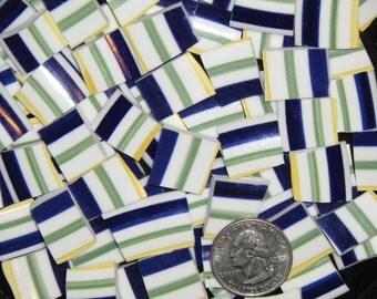 MOSAIC TILES - Mosaic Plate Tiles, Green / Yellow / Blue STRIPED Tesserae, Great Filler, Lines, Broken China -Free Shipping - ALLBellaJewels