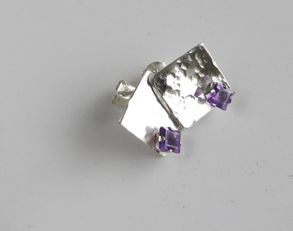 Square Amethyst Studs on Sterling: February Birthstone