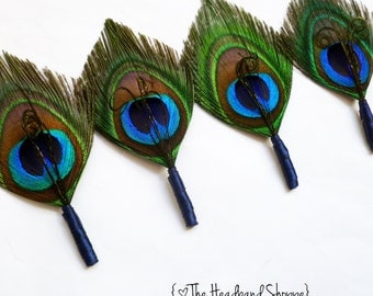 Feather Peacock Boutonniere or Lapel Pin for the Groomsmen with Navy Blue Wrap