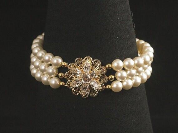Gold Bridal Bracelet -- Triple Strand Pearl Wedding Bracelet, Rhinestone Wedding Jewelry, Pearl Cuff, Bridal Jewelry -- AVA