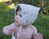 SALE Crochet Pixie Baby Bonnet, Elf Hat, infants 12-18 months, ready to ship.