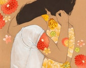Peach Hug - 8x10 archival fine art print - charcoal ink acrylic and fabric collage