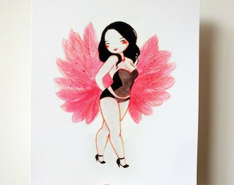 Fan Dance Finale - 8x10 archival fine art print - hot pink fan dancer