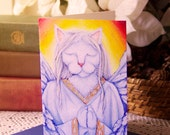 Angel Cat Greeting Card, White Cat Praying, Pet Sympathy Card, Cat Wings