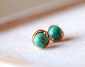 Turquoise Stud Earrings, Simple Turquoise Earrings, Dot Earrings, Round howlite turquoise earrings wirewrapped in 14k rose gold filled wire