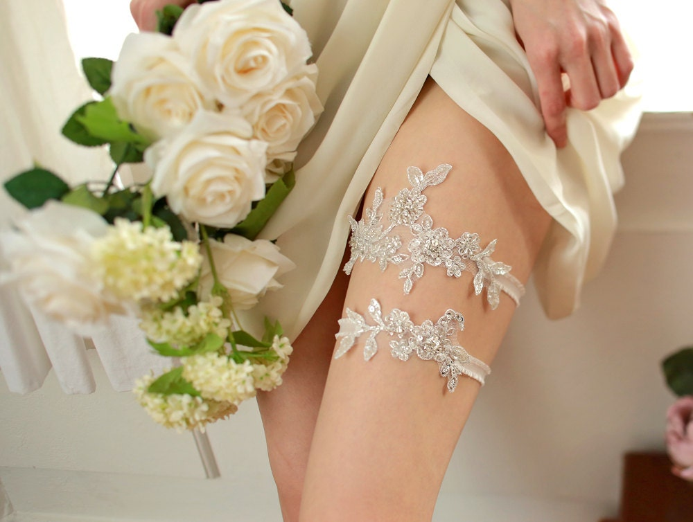 Silver Garter Wedding Garter Set Bridal Keepsake Wedding