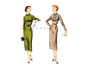 1950s Vogue Sheath Dress Pattern 3495, One Piece, Button Back Womens Dress Vintage Sewing Pattern with Two Sleeve Lengths