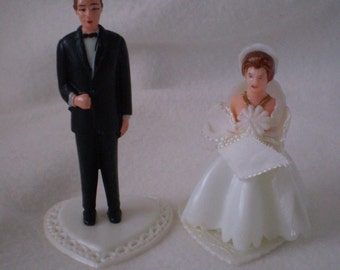 Vintage Retro BRIDE and GROOM WEDDING Cake Topper in Plastic 1950s