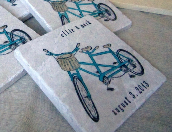 Personalized Coasters Wedding Gift: Personalized Double Bike Wedding Favor Coasters By