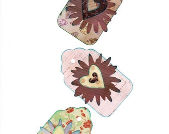 Heart Digital Gift Tags Gift Tags Green Purple Pink