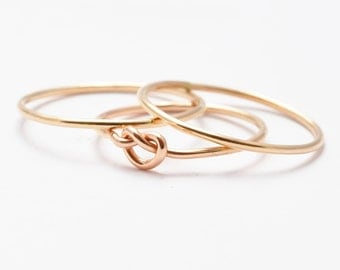 Wire Rings: Yellow Gold Filled Knot Ring, Gold Bands
