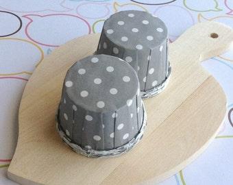 25 Polka Dots Gray Baking Cups