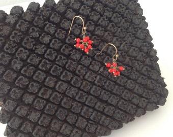 Vintage JAPANESE RED BEADED Earrings