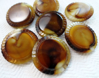 Cafe au Lait Vintage Buttons - 2 Large 1900s Czech Glass Buttons in Swirls of Mocha
