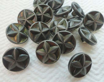Lone Star Vintage Buttons - 8 Pewter Metal Buttons with Raised Texas Star
