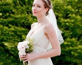 Waverly Veil: gold flower and white feathers - ready to ship