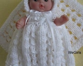 Berenguer Baby Doll Knitting Pattern Lace Christening Gown Set fits chubby 5 inch Berenguer pdf knitting pattern instant download