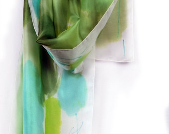 Hand painted silk scarf Green shades, Painted silk scarf in abstract composition. Luxury scarf. Painting on silk by Dimo/ Unique handmade gi