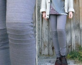 Gray striped cotton  fleece Leggings, knee pleated, biker style leggings