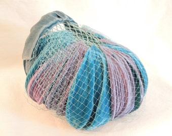 Vintage Blue Velvet Headpiece with netting