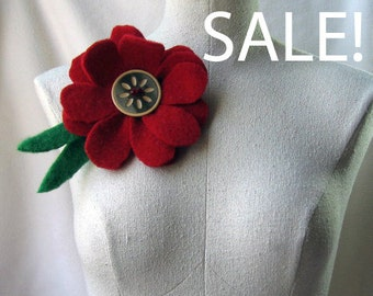 Brooch - Recycled Wool Sweater - Grande Red Flower - by FeltSassy