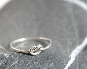 Sterling silver love knot ring, love and friendship gift, MADE TO ORDER