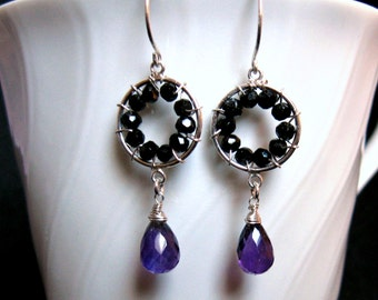 Pinwheel Design- Earrings, Silver, Amethyst, Black Onyx, Wire Wrapped
