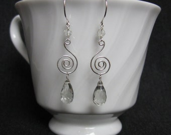 Green Amethyst Earrings- Sterling Silver, Hammered Wire, Spiral Design