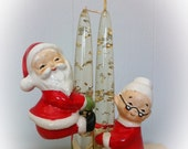 Vintage Christmas Candle Holders Huggers Santa Claus and Mrs Claus