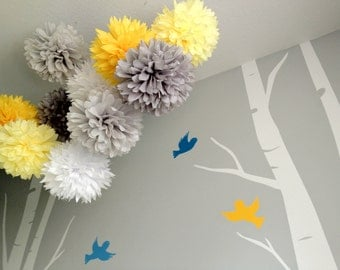 Upgraded Mod - 10 Tissue Paper Pom Poms First Birthday Decoration Party - Candy Bar Backdrop - Newborn Photography - Bee Sweet - Yellow Gray