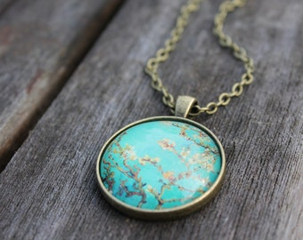 Floral Turquoise Blossom Necklace - Van Gogh Necklace - Almond Blossoms - Large Turquoise Glass Dome Necklace