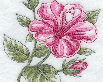 Hibiscus Beauty Embroidered Terry Kitchen Towel Bathroom Hand Towel