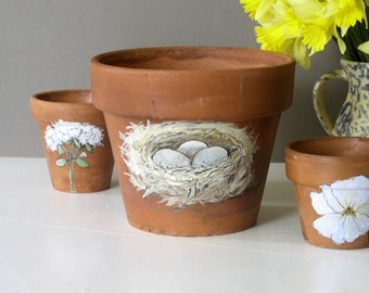 Painted Bird Nest with Eggs Clay Pot Nature Art Garden Planter