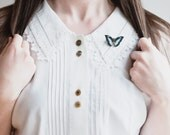 Butterfly Brooch - Illustrated Wooden Jewellery - Blue and Black