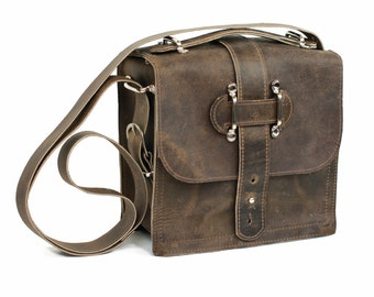 Distressed Brown Leather Satchel - Urban Every Day Leather Bag - Men's Leather Messenger
