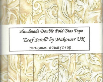 Handmade Double Fold Bias Tape - Ivory Leaf Scroll - 6 Yards