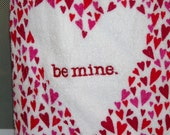Crochet Top Kitchen Towel for Valentine's Day, Hearts, Be Mine