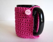 Crochet Mug Cozy in Pink for Coffee Lovers and Tea Drinkers