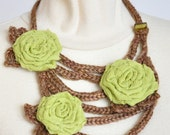 Spring Flower Basket - Crochet String and Leaf and Handmade Fabric Flower Bib Necklace