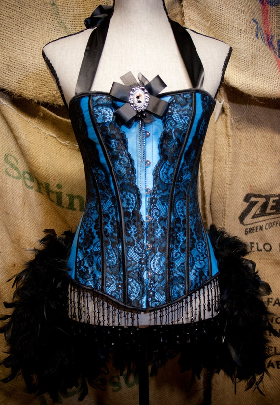 MARIE ANTOINETTE corset dress Can Can Costume Blue Showgirl feathers