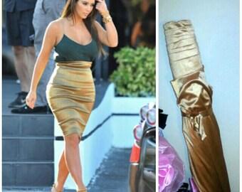As seen on Kim Kardashian Handmade High Waist Pencil skirt  ..Gold