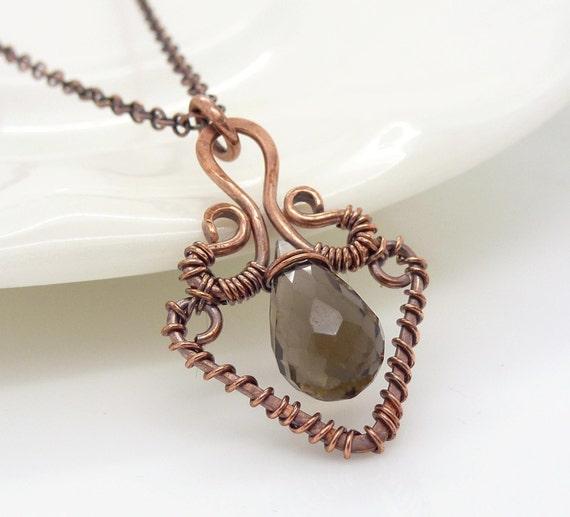 Copper necklace, Smoky quartz necklace, Wire wrapped necklace, Copper and brown quartz, Copper jewelry