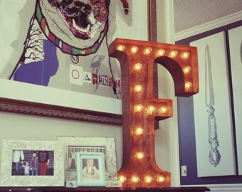 "SALE - Light Up Letter F - RUSTY - 24"" Vintage Marquee Lights-The Original!"