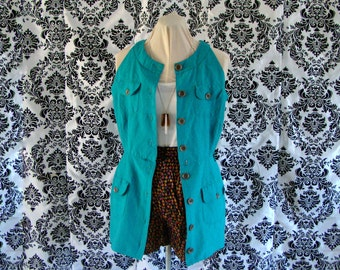Bright teal green button up tunic mini dress vest  with unique necklike and cinch waist- size 14